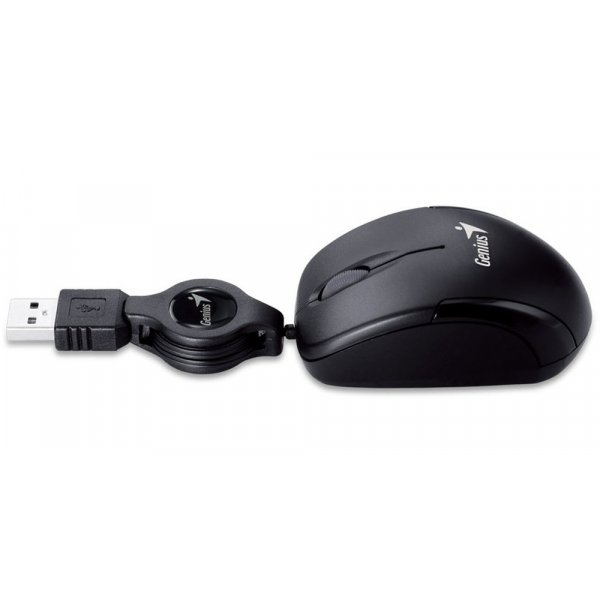 Mouse Micro Traveler V2 - Negro USB Óptico 3 botones Cable Retráctil