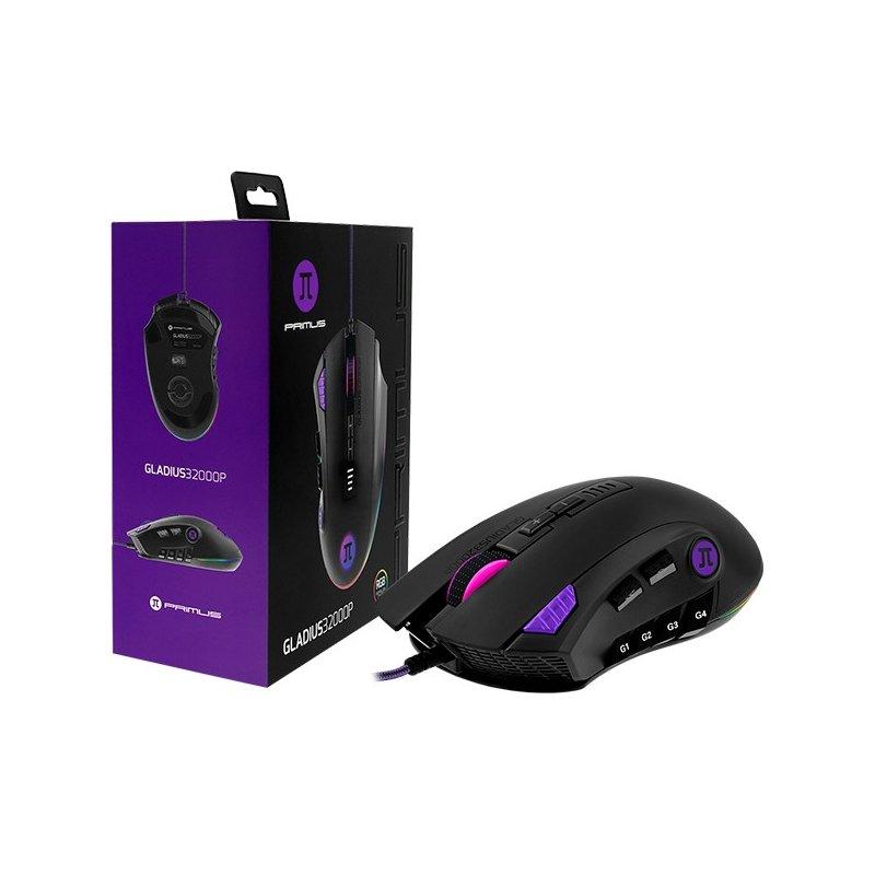 Mouse Primus Gaming PMO-302 12 Botones Hasta 32000 DPI Black + RGB