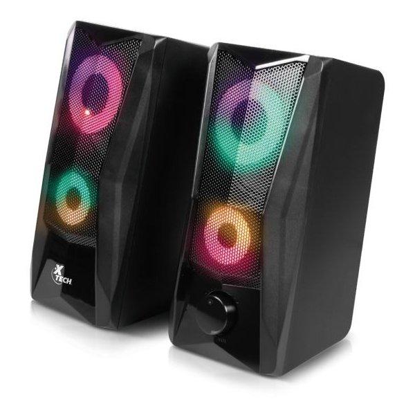 Parlantes Xtech Incendio Estéreo Multimedia de 2.0 Canales con Luces Led