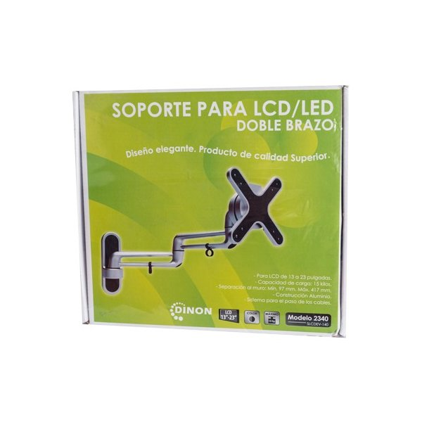 "Soporte para TV LCD LED Brazo Doble Aluminio 13-27"" 10-42MM VMAX 100X100 15Kg"
