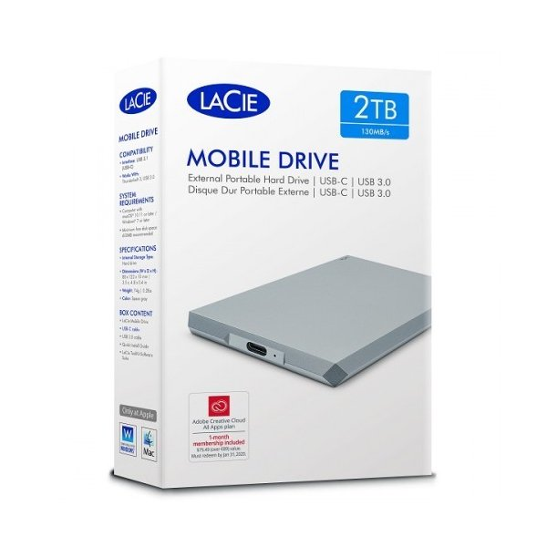 LaCie Mobile Drive Moon Silver 2TB USB-C