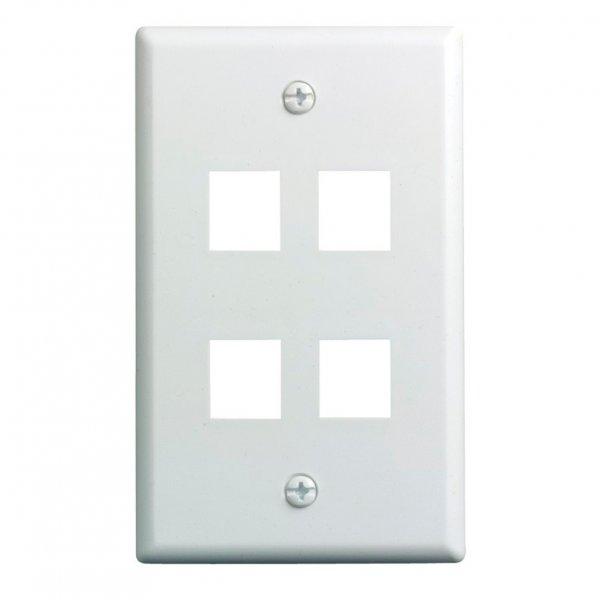 Placa de Muro Acero para 4 Modulos Color Blanco